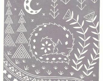 Connor Wolf in grey, limited edition scandinavian folk art, woodland animal linocut print