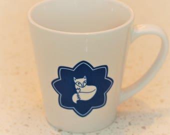 Daniel Fox latte mug in blue, coffee cup, children's mug, scandi lifestyle