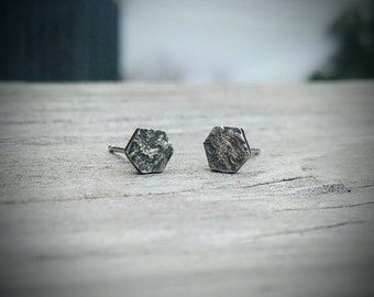 Hexagon Studs * Geometric Stud Earrings * Handmade Studs * Reticulated Earrings * Metalsmith Jewelry * Reticulated Jewelry