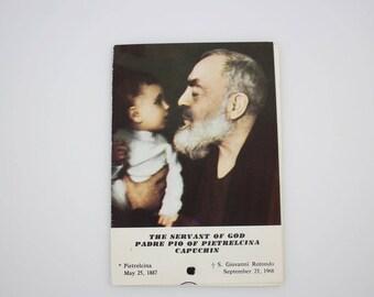 Vintage Padre Pio of Pietrelcina Third Class Relic Prayer Card - Novena to the Sacred Heart of Jesus (SD566)