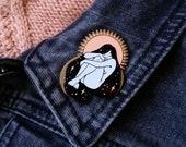 Self Love Hugs Hard Enamel Pin - Glow in the Dark - Black Nickel, White, and Pink - Lapel Pin Cloisonné Badge