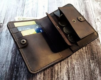 Leather Bifold Wallet.Gift for HIM,for Men,for Dad,for Hasband,for Groom,for Boyfriend.3th anniversaryGift.Valentine's Day Gift.BirthdayGift