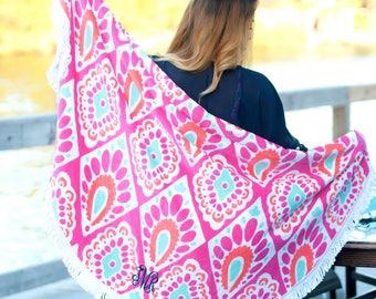 Round Beach Towels, Monogrammed Beach Towels, Embroidered Beach Towels, Personalized Beach Towels, FREE Personalization