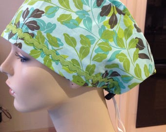 SURGICAL SCRUB HAT shades of natures green with rick rack ribbon