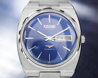 Tugaris Mens Rare Automatic 1970s Vintage Swiss Made Stainless Steel Watch T732
