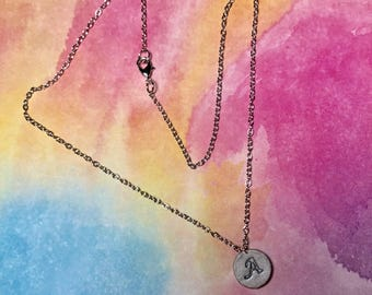 "Handstamped Initial ""A"" Charm Necklace"
