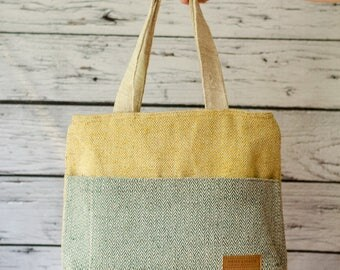 Shoulder handbag Bagmati Yellow and Green, Hemp purse, two sided bag, gift for her