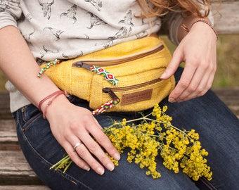 Yellow Hemp Waist Bag Money belt Hip Bag Belt bag fanny pack, genuine suede bum bag, festival bag, bauchtasche