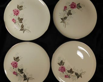 "1950s 10"" Set of 4 Off White Dinner Plates TST78 Taylor Smith Taylor VERSATILE Two Pink Roses Platinum Edge Blue Baby's Breath Flowers Cream"