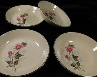 "1950s Set of 4 Off White 7"" Soup Salad Bowls TST78 Taylor Smith VERSATILE Two Pink Roses Platinum Edge Blue Babies Breath Flowers Cream"