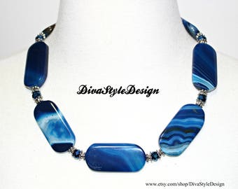 Blue Agate Statement Necklace with Beautiful Natural Banding in the Gemstone