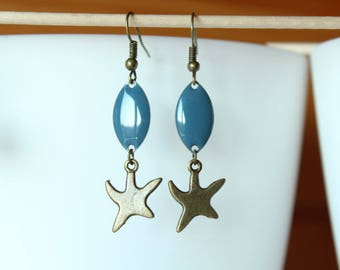Earring bronze starfish and blue sequin