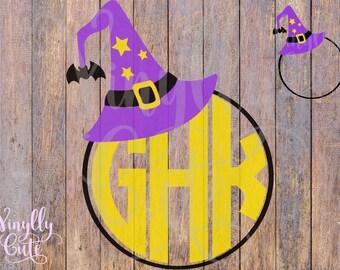 SVG - Witch Hat Monogram Frame - Digital File Only - svg , png , jpg - Halloween SVG