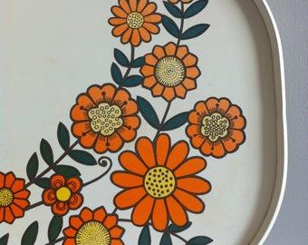 Vintage melamine tray, 1970's orange flower power design.