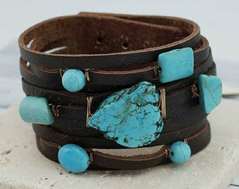 Turquoise Stone Leather Cuff Bracelet