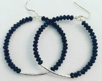 SALE**Black beaded earrings with silver detail