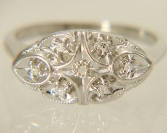 14K White Gold Vintage 1950's Diamond Princess Ring Size 6.25 FREE SHIPPING