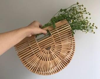 PREORDER Ark Bag 100% Bamboo Structural Summer  Straw bag : Baskets Backpack French market basket, Beach Bag, Straw bag