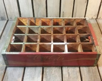 Red Coke Crate, Vintage Coca Cola Soda Crate, Advertising Crate, Distressed Crate, Old Wooden Box