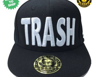 Trash Snapback puffy embroidery Hat