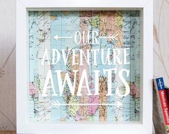 Adventure Fund // Travel Gifts // Travel Fund // Money Box // Travel Gift // Piggy Bank // Map Gift  // Holiday Fund // Our Adventure Awaits