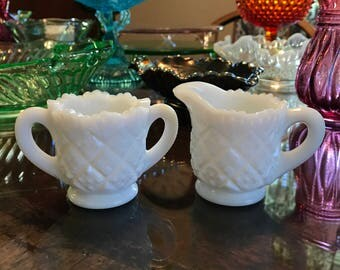 Vintage Child's Sugar and Creamer Set in Thumbelina Milkglass by Westmoreland