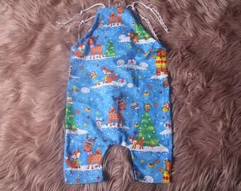 Baby Boy,Newborn,3/4 leg,Christmas style romper,Photography prop, with self adjusting self tie  shoulder straps.In 3 fabrics,Handmade in UK.