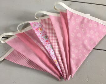 Pretty Pink bunting - pinks and white.  girls party, spotty flags, party banner, decoration, garland, display, birthday parties, celebration