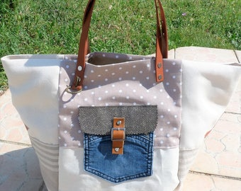 leather tote bag off-white/beige/taupe/camel pochejean stars style pomponette