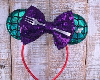 Little Mermaid Inspired Minnie Ears , Minnie Ears, Ariel Inspired Headband, Girls Birthday Headband, Bachelorette Party,