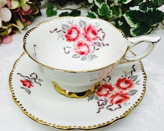 "Royal Stafford ""Cameo Rose"" teacup and saucer."
