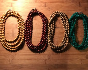 Beaded double-wrap necklaces