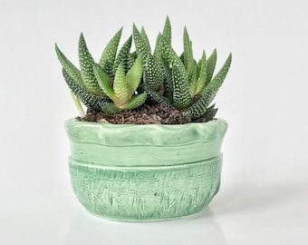Small Handmade Green Scalloped Cactus Pot