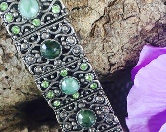 VINTAGE Jade 1950's Ornate Bracelet, Silver Tone - Unique Monet Piece