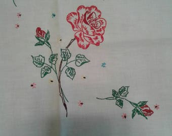 Free Shipping Anywhere!!! Vintage Mid Century Floral Embroidered  Print Tablecloth