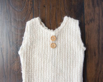 Baby Sitter Outfit-Photography Prop Size 9-12 Months-Textured Beige Knit-Sleeveless Henley Style
