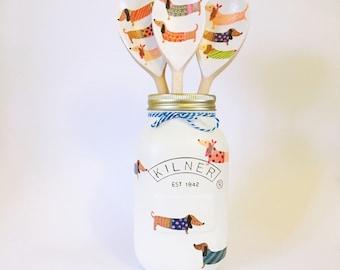 Dachshund patterned Kilner jar• decorative jar • dog lover • sausage dog