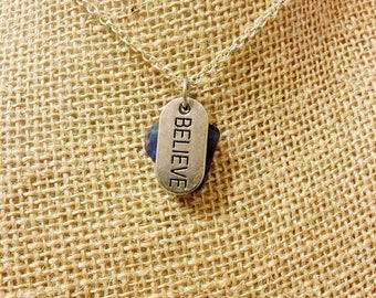 Believe Blue Beach Glass Necklace
