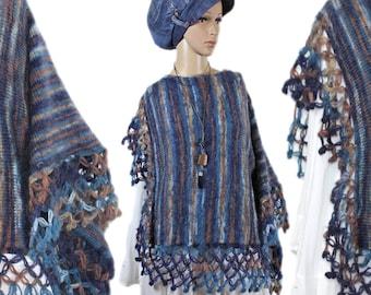 CUDDLY layered look mohair Cape poncho sleeve asymmetrical scarf Gr. 40 42 44