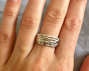 Sliver and crystal ring