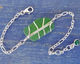 Green Sea Glass & Sterling Silver Bracelet - Larger Centerpiece