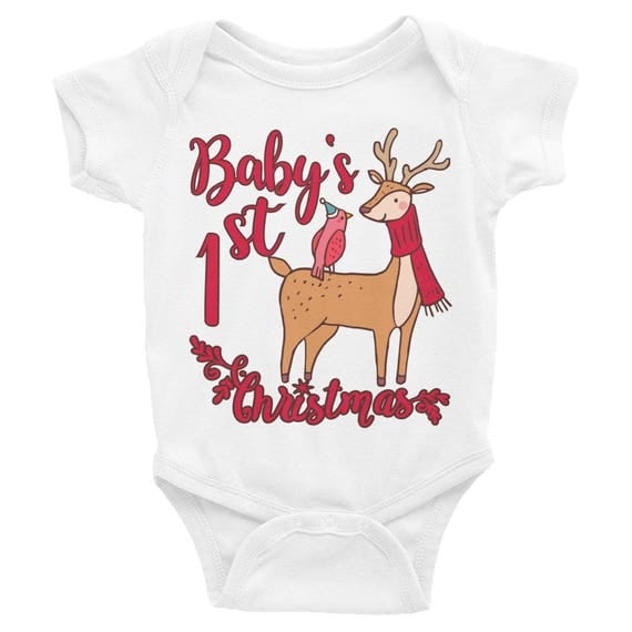 Baby's First Christmas Baby Onesie | My Fist Christmas Infant Bodysuit | 1st Christmas 2017 with Reindeer Baby Clothes