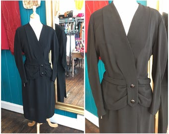 "1940s Black Crepe Dress W35"" XL"