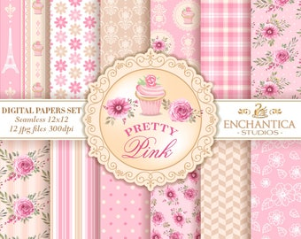 Pink Digital Paper, Digital Paper Pink, Pink Digital Pattern, Pink Floral Digital Paper, Pink Scrapbook Paper, Pink Digital Background, Rose