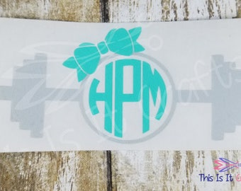 Fitness Decal - Kettlebell Monogram Decal - Barbell Monogram Decal - Car Decal - Water Bottle Decal - Vinyl Decal