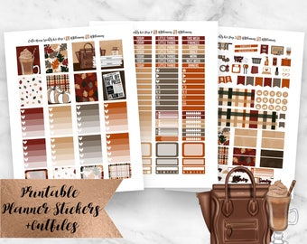 Coffee House Weekly Kit Printable Planner Stickers- Fall September October Weekly Kit- Erin Condren Planner Stickers- Silhouette Cutlines
