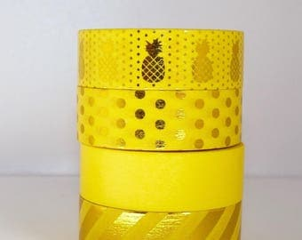 Set of 4 yellow Washi Tape: yellow, gold, gold dots and Golden - pineapple stripe spring pantone - packaging - decoration