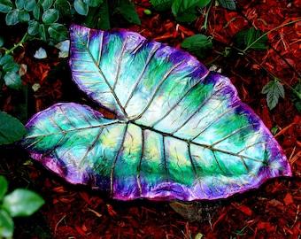 "Garden Art, Bird Feeder, Handpainted fushsia, deep greens, w/ accents of coppery gold. ""Footed"". Elephant Ear Leaf casting."