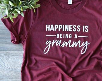 Happiness is Being A Grammy ©  | Grammy Shirt | Shirt for Grammy | Women's T Shirt | Trendy Tees | Grammy Gift | Granny, Nana, Grammy