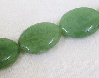 16'' Natural Green Aventurine Gemstone 18x25mm Flat Oval Loose Beads